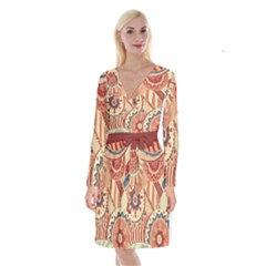 Pop Art Paisley Flowers Ornaments Multicolored 4 Background Solid Dark Red Long Sleeve Velvet Front Wrap Dress