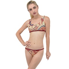 Pop Art Paisley Flowers Ornaments Multicolored 4 Background Solid Dark Red The Little Details Bikini Set by EDDArt