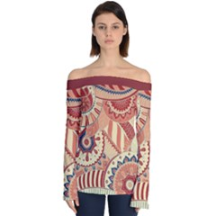Pop Art Paisley Flowers Ornaments Multicolored 4 Background Solid Dark Red Off Shoulder Long Sleeve Top by EDDArt