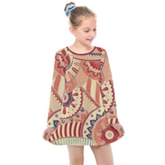 Pop Art Paisley Flowers Ornaments Multicolored 4 Background Solid Dark Red Kids  Long Sleeve Dress by EDDArt