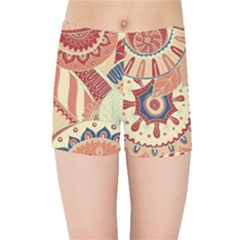 Pop Art Paisley Flowers Ornaments Multicolored 4 Background Solid Dark Red Kids  Sports Shorts by EDDArt