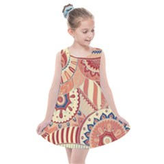 Pop Art Paisley Flowers Ornaments Multicolored 4 Background Solid Dark Red Kids  Summer Dress