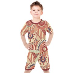 Pop Art Paisley Flowers Ornaments Multicolored 4 Background Solid Dark Red Kids  Tee And Shorts Set