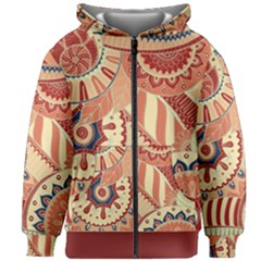 Pop Art Paisley Flowers Ornaments Multicolored 4 Background Solid Dark Red Kids  Zipper Hoodie Without Drawstring
