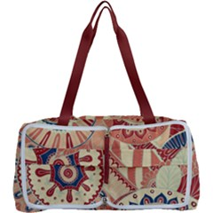 Pop Art Paisley Flowers Ornaments Multicolored 4 Background Solid Dark Red Multi Function Bag by EDDArt