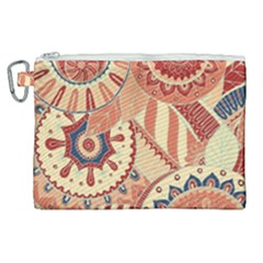 Pop Art Paisley Flowers Ornaments Multicolored 4 Background Solid Dark Red Canvas Cosmetic Bag (xl)