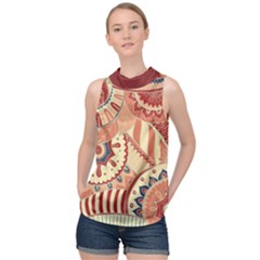 Pop Art Paisley Flowers Ornaments Multicolored 4 Background Solid Dark Red High Neck Satin Top