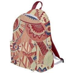 Pop Art Paisley Flowers Ornaments Multicolored 4 Background Solid Dark Red The Plain Backpack