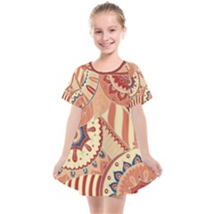 Pop Art Paisley Flowers Ornaments Multicolored 4 Background Solid Dark Red Kids  Smock Dress by EDDArt