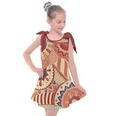Pop Art Paisley Flowers Ornaments Multicolored 4 Background Solid Dark Red Kids  Tie Up Tunic Dress by EDDArt