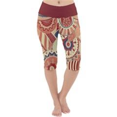 Pop Art Paisley Flowers Ornaments Multicolored 4 Background Solid Dark Red Lightweight Velour Cropped Yoga Leggings by EDDArt