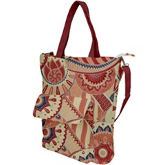 Pop Art Paisley Flowers Ornaments Multicolored 4 Background Solid Dark Red Shoulder Tote Bag