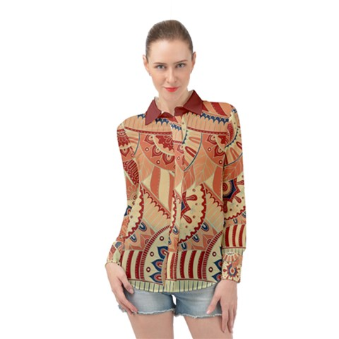 Pop Art Paisley Flowers Ornaments Multicolored 4 Background Solid Dark Red Long Sleeve Chiffon Shirt by EDDArt