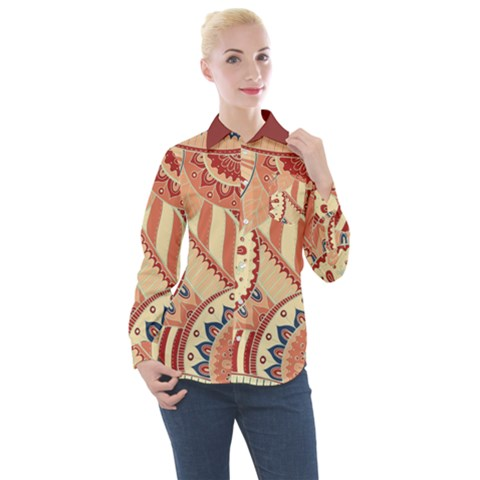 Pop Art Paisley Flowers Ornaments Multicolored 4 Background Solid Dark Red Women s Long Sleeve Pocket Shirt by EDDArt