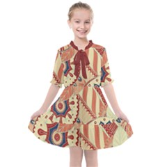 Pop Art Paisley Flowers Ornaments Multicolored 4 Background Solid Dark Red Kids  All Frills Chiffon Dress by EDDArt