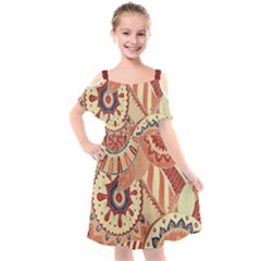 Pop Art Paisley Flowers Ornaments Multicolored 4 Background Solid Dark Red Kids  Cut Out Shoulders Chiffon Dress by EDDArt
