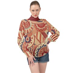 Pop Art Paisley Flowers Ornaments Multicolored 4 Background Solid Dark Red High Neck Long Sleeve Chiffon Top