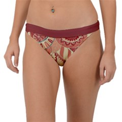 Pop Art Paisley Flowers Ornaments Multicolored 4 Background Solid Dark Red Band Bikini Bottom by EDDArt