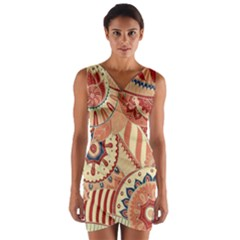 Pop Art Paisley Flowers Ornaments Multicolored 4 Background Solid Dark Red Wrap Front Bodycon Dress