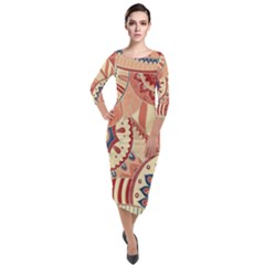 Pop Art Paisley Flowers Ornaments Multicolored 4 Background Solid Dark Red Quarter Sleeve Midi Velour Bodycon Dress