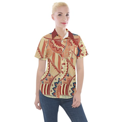 Pop Art Paisley Flowers Ornaments Multicolored 4 Background Solid Dark Red Women s Short Sleeve Pocket Shirt by EDDArt