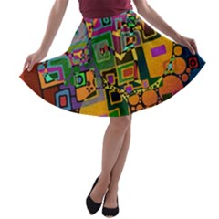 Modern Geometric Art   Dancing In The City Background Solid Dark Blue A Line Skater Skirt