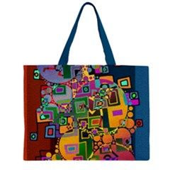 Modern Geometric Art   Dancing In The City Background Solid Dark Blue Zipper Large Tote Bag by EDDArt