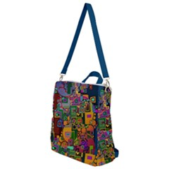 Modern Geometric Art   Dancing In The City Background Solid Dark Blue Crossbody Backpack by EDDArt