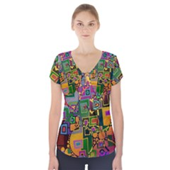 Modern Geometric Art   Dancing In The City Background Solid Dark Blue Short Sleeve Front Detail Top by EDDArt