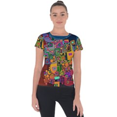 Modern Geometric Art   Dancing In The City Background Solid Dark Blue Short Sleeve Sports Top  by EDDArt