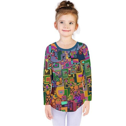 Modern Geometric Art   Dancing In The City Background Solid Dark Blue Kids  Long Sleeve Tee by EDDArt