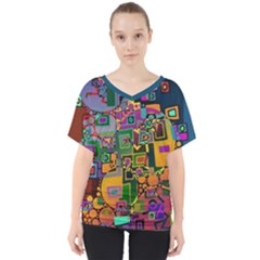 Modern Geometric Art   Dancing In The City Background Solid Dark Blue V Neck Dolman Drape Top by EDDArt