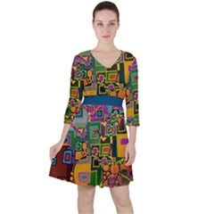 Modern Geometric Art   Dancing In The City Background Solid Dark Blue Ruffle Dress