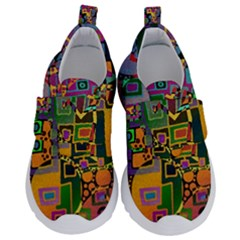 Modern Geometric Art   Dancing In The City Background Solid Dark Blue Kids  Velcro No Lace Shoes