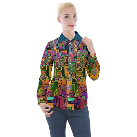 Modern Geometric Art   Dancing In The City Background Solid Dark Blue Women s Long Sleeve Pocket Shirt by EDDArt