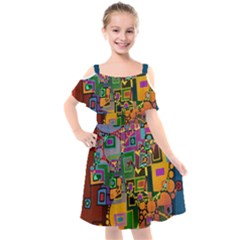 Modern Geometric Art   Dancing In The City Background Solid Dark Blue Kids  Cut Out Shoulders Chiffon Dress by EDDArt