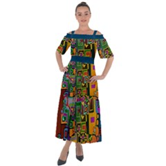 Modern Geometric Art   Dancing In The City Background Solid Dark Blue Shoulder Straps Boho Maxi Dress
