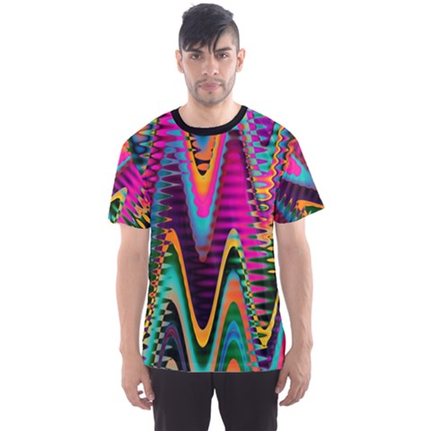 Multicolored Wave Distortion Zigzag Chevrons 2 Background Color Solid Black Men s Sports Mesh Tee by EDDArt