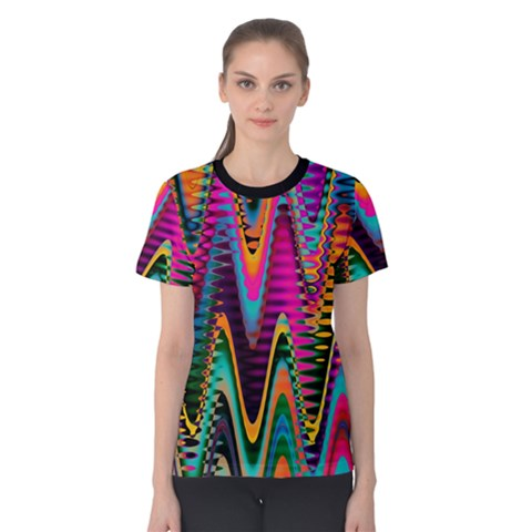 Multicolored Wave Distortion Zigzag Chevrons 2 Background Color Solid Black Women s Cotton Tee by EDDArt