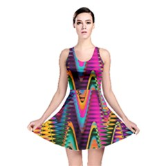Multicolored Wave Distortion Zigzag Chevrons 2 Background Color Solid Black Reversible Skater Dress by EDDArt