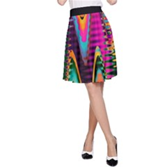 Multicolored Wave Distortion Zigzag Chevrons 2 Background Color Solid Black A-line Skirt by EDDArt