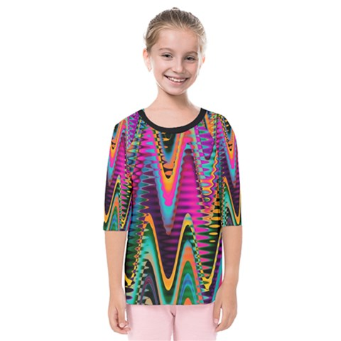 Multicolored Wave Distortion Zigzag Chevrons 2 Background Color Solid Black Kids  Quarter Sleeve Raglan Tee by EDDArt