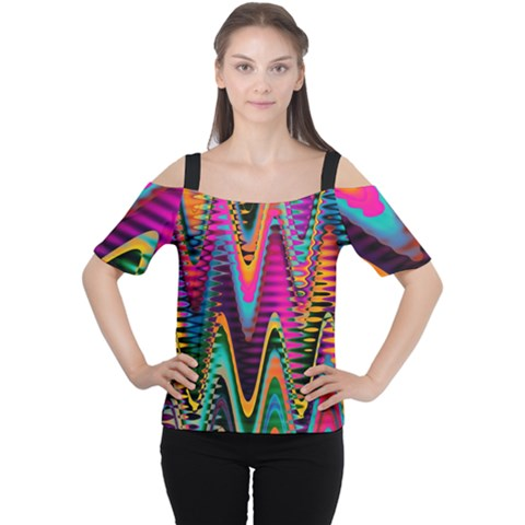 Multicolored Wave Distortion Zigzag Chevrons 2 Background Color Solid Black Cutout Shoulder Tee by EDDArt
