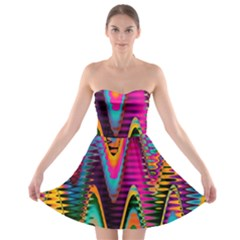 Multicolored Wave Distortion Zigzag Chevrons 2 Background Color Solid Black Strapless Bra Top Dress by EDDArt