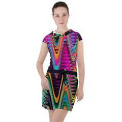 Multicolored Wave Distortion Zigzag Chevrons 2 Background Color Solid Black Drawstring Hooded Dress by EDDArt