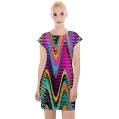 Multicolored Wave Distortion Zigzag Chevrons 2 Background Color Solid Black Cap Sleeve Bodycon Dress by EDDArt