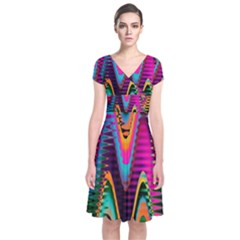 Multicolored Wave Distortion Zigzag Chevrons 2 Background Color Solid Black Short Sleeve Front Wrap Dress by EDDArt