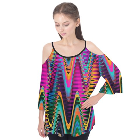 Multicolored Wave Distortion Zigzag Chevrons 2 Background Color Solid Black Flutter Tees by EDDArt
