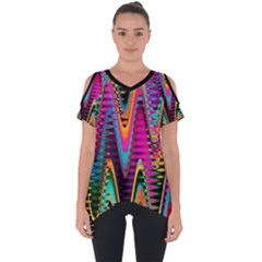 Multicolored Wave Distortion Zigzag Chevrons 2 Background Color Solid Black Cut Out Side Drop Tee by EDDArt
