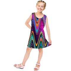 Multicolored Wave Distortion Zigzag Chevrons 2 Background Color Solid Black Kids  Tunic Dress by EDDArt